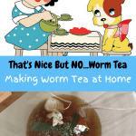 Making Worm Tea at Home cartoon girl and dog having a tea party. A bucket of worm tea brewing.