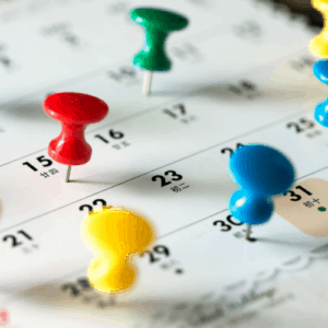 Calendar with pins